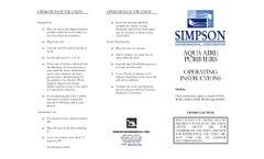 Aqua Aire Purifiers - Operating Instructions