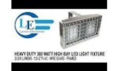 Heavy Duty 300 Watt High Bay LED Light Fixture - 25,000 Lumens - 120-277V AC - Wire Guard - Framed