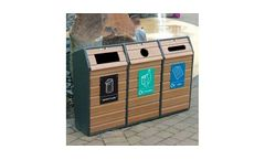 Model RLA/7 - Timber Fronted Triple Recycling Bin