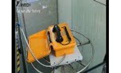 The waterproof phone is tested under a high pressure water gun. Video