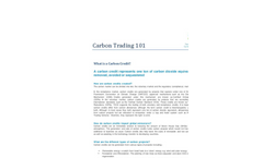 Carbon Trading 101 Brochure