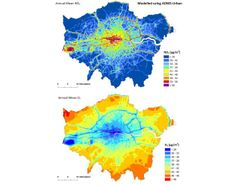 Contour plot of London showing the annual average NO2 and O3 concentrations predicted by ADMS-Urban for 2008. NO2 regions shown in yellow, orange or red are predicted to exceed the UK NAQS targets.
