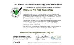 OZONATOR Industries ETV  Performance Verification 2016