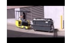 The Battery-Powered WasteCaddy Ride-on dumpster mover navigates tight trash rooms. Video