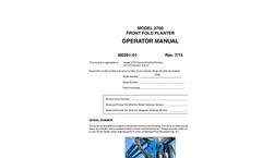 KINZE - Model 3700 - Row Crop Planters Manual