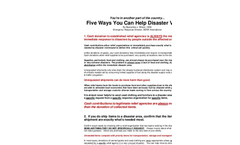 Five Ways You Can Help Disaster Victims - Brochure