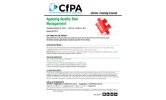 Applying Quality Risk Management Training Brochure