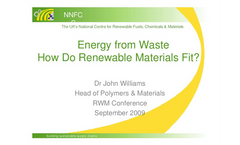 Energy from waste - how do renewable materials fit? Presentations Brochure (PDF 2.79 MB)
