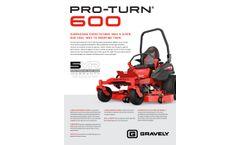 Gravely PRO-TURN - Model 600 - Zero Turn Mowers- Brochure