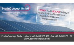 EcofinConcept realizes the marketing of 6.9 MWp solar parks