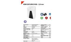 HSM Securio - Model B26 - 3.9 mm - Document Shredder - Datasheet