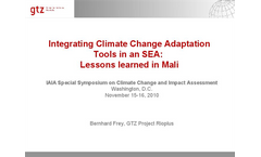 Adaptation Tools in an SEA in Mali