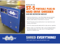 Shred-Tech - Model ST-5 - Portable Plug-In Hard Drive Shredder - Brochure
