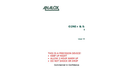 Analox - Model O2NE+ & Safe- Ox+ - User Manual