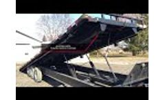 30 ft x 21000 lb GVW Tri axle trailer with a Built in Hydraulic Roller System Video