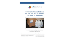 NSI Lab - Certified Reference Materials for TSS, TDS, and TS in Water - Datasheet