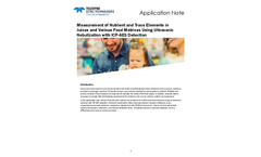 Measurement of Nutrient and Trace Elements in Juices and Various Food Matrices Using Ultrasonic Nebulization with ICP-AES Detection - Application Note