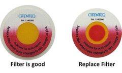 Model BTIS - Acidic Vapors Saturation Indicator Sticker for Ductless Hood Filters
