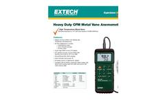 Extech - Model 407113 - Heavy Duty CFM Metal Vane Anemometer Brochure