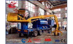 Wanshida - Model Y83/D-3000B - Mobile Scrap Metal Baler Logger with Trailer and Feeding Grab