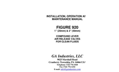 GA - Series 920 - Compound Lever Air Release Valve - Manual