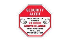 Emedco - Surveillance Signs - Security Alert This Facility Under 24 Hour Surveillance