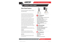 AMETEK PI - Model Standard Bureau of Mines - Dew Point Tester - Datasheet