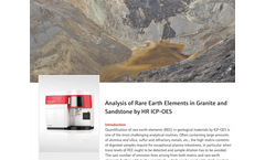 Analysis of Rare Earth Elements in Granite and Sandstone by HR ICP-OES