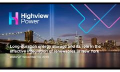 Long Duration Energy Storage and its Role in Effective Integration of Renewables in New York - Video