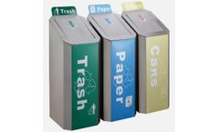 Gomate - Model GMT-316 - Three Compartment Decorative Stainless Recycling Bins