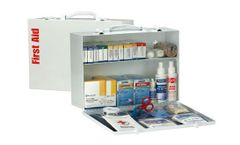 First Aid Only - Model 90572AC - 75 Person 2 Shelf First Aid Metal Cabinet, ANSI A+, Type I & II, with Medications