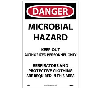 NMC - Model D895 - Danger Microbial Hazard Paper Sign - Pack of 100