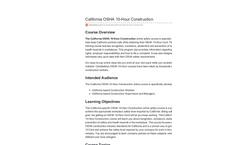 California OSHA 10-Hour Construction Online Safety Course - Datasheet