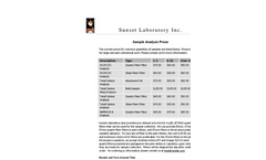 Sunset Lab Analysis Prices Brochure