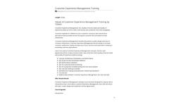 Tonex - 4 Days Customer Experience Management Training Brochure