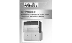 Lab-Crafters - Model K-12 - Air-Prentice Fume Hood Manual