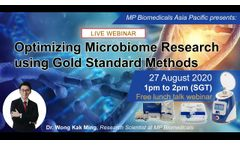 Optimising Microbiome Research using Gold Standard Methods - Webinar recording August 27, 2020- Video