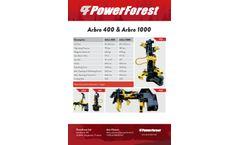 Powerforest - Models Arbro 400 and Arbro 1000 - Stroke Harvesters - Brochure