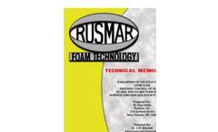 Technical Memorandum - Evaluation of Volatile Organic Compound Emission Control of Rusmar AC-900L and AC-900 Brochure