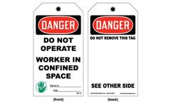 Model TAG 112 - Lockout and Confined Space Tag