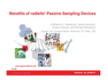 Benefits of radiello ®  Passive Sampling Devices