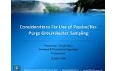 Considerations for Use of Passive/No-Purge Groundwater Sampling - Video