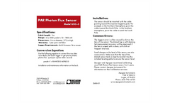 PAR Photon Flux Sensor Quickstart Guide Brochure