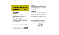 Solar Radiation Sensor Quickstart Guide Brochure