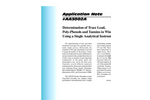 AA3002 Determination of Trace Lead, Poly-Phenols and Tannins in Wines Using a Single Analytical Instrument - Application Notes