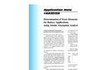AA3012 Determination of Trace Elements in Lead for Battery Application Using Atomic Absorption Analysis - Application Notes
