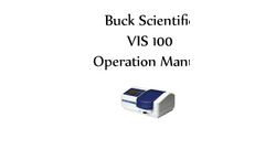 Buck - Vis 100 - Non Scanning UV/Visible Spectrophotometers Manual