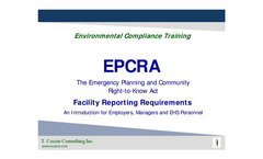 T. Cozzie Consulting Inc. www.tcozzie.com  Environmental Compliance Training  An Introduction for Employers, Managers and EHS Personnel  EPCRA The Em
