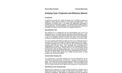 Pumping Tests: Production and Efficiency Determinations Brochure
