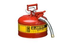 Justrite AccuFlow - Model 7225130 - Type II Steel Safety Can for Flammables 2.5 Gallon (Red with 1 Hose)